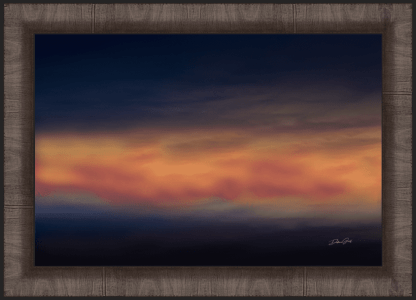 framed beautiful minimalistic sunset sky abstract wall art blue red gold