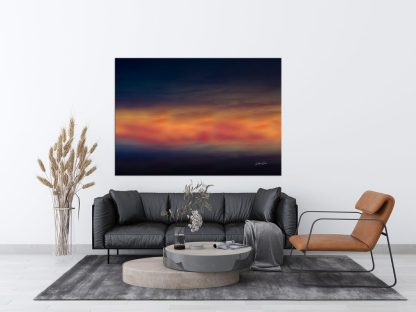 beautiful minimalistic sunset sky abstract wall art blue red gold